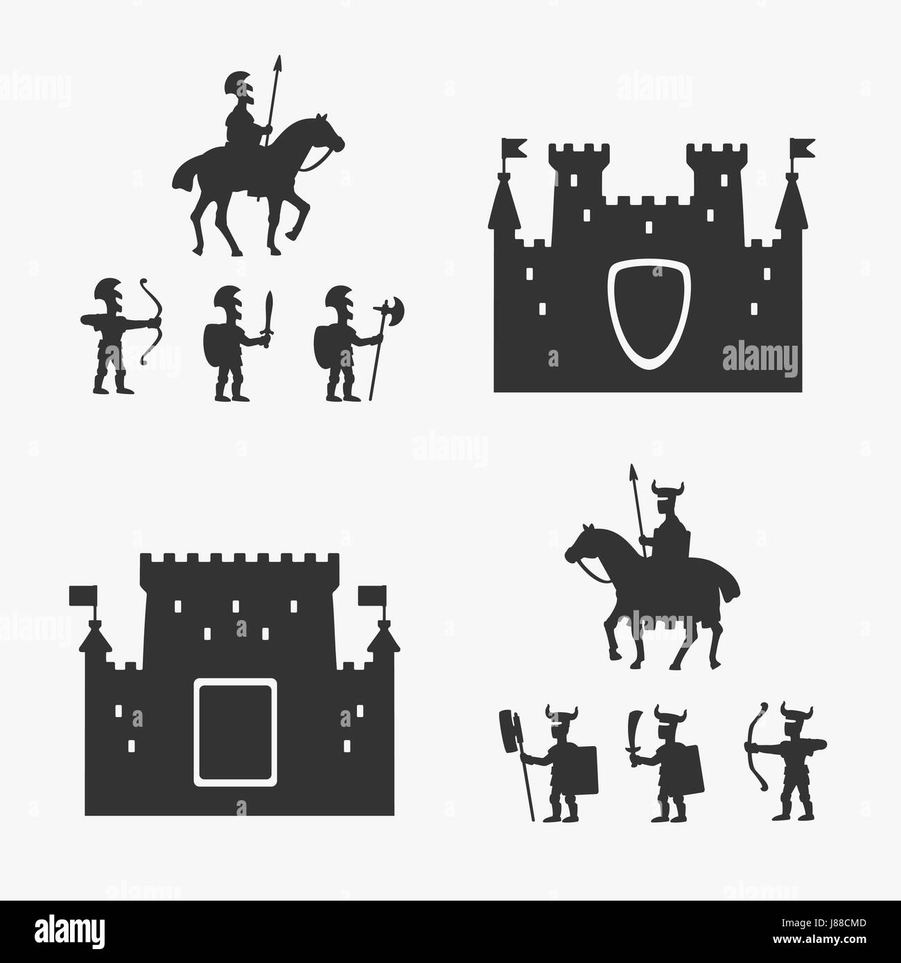 Medieval Army and Ancient Castles - Stock Vector