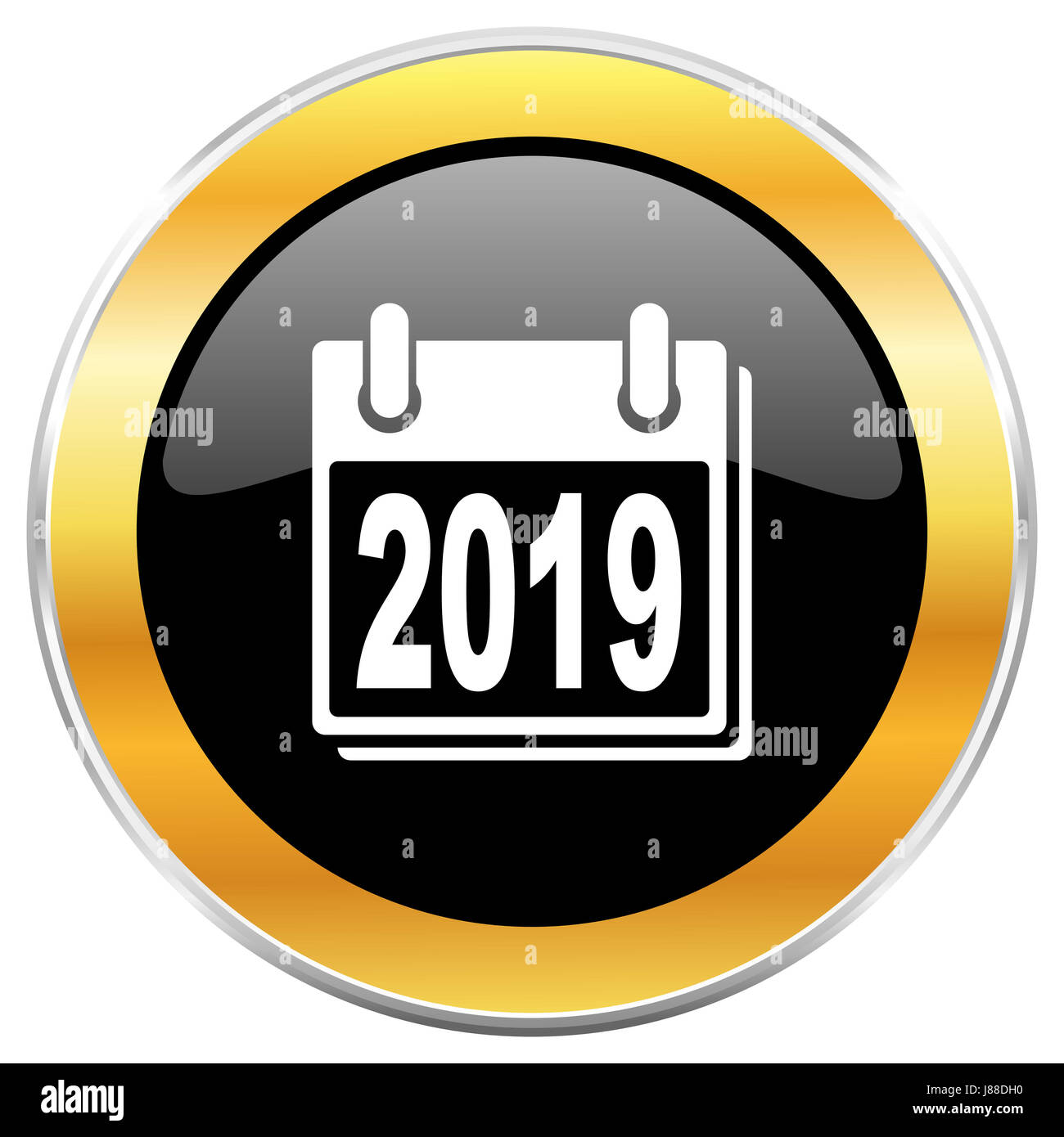 new year 2019 black web icon with golden border isolated on white background round glossy button