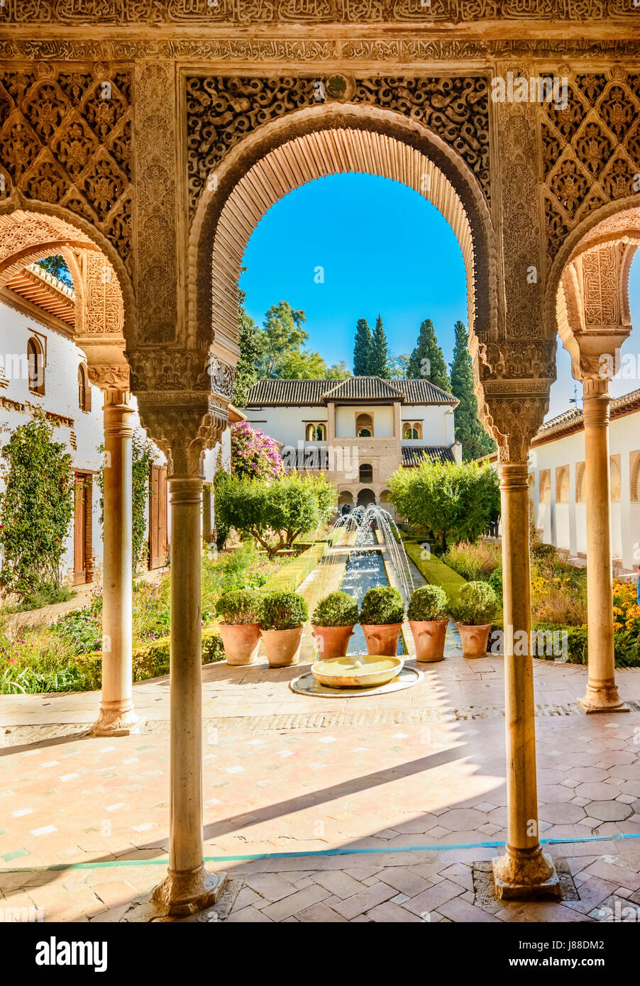 Courtyard of the Alhambra from Granada, Spain Stock Photo