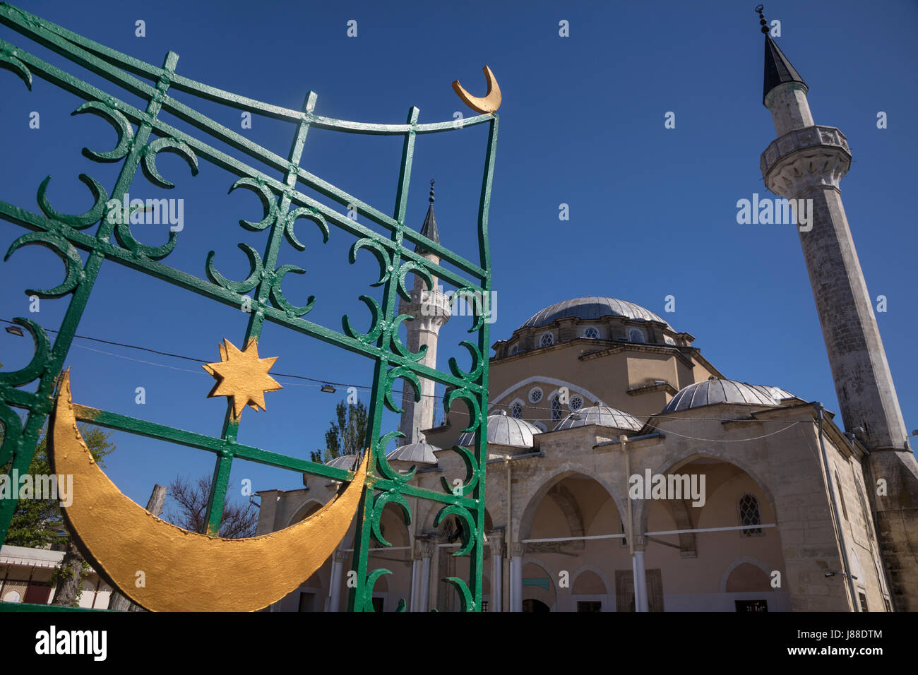 View of the Juma-Jami Mosque, also known as the Friday Mosque, is located in Yevpatoria, Crimea - Stock Image