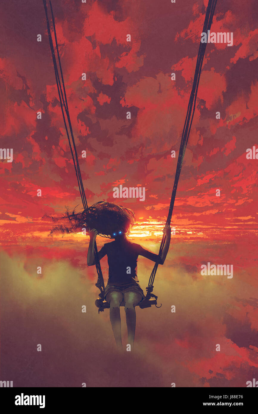 surreal concept of the mysterious woman sitting on the swing in the sky at sunset with digital art style, illustration - Stock Image
