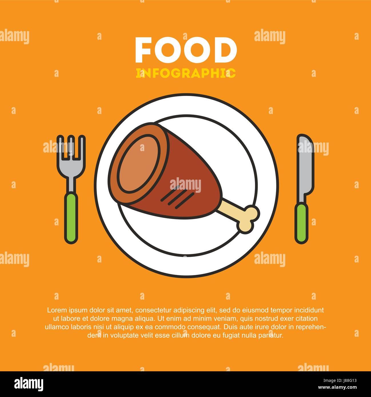protein food illustration - Stock Image