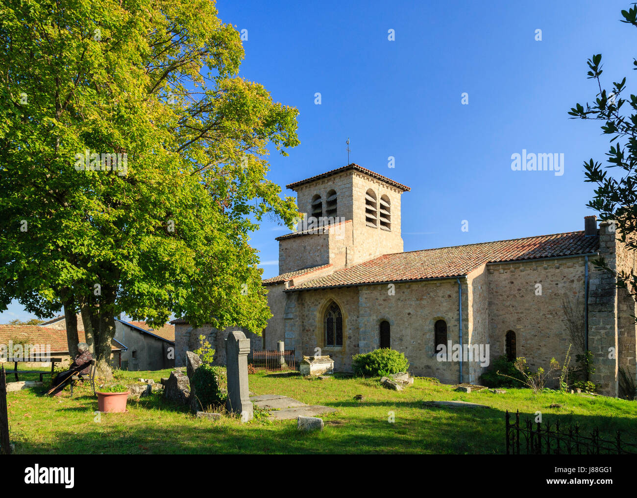 France, Loire, Saint-Haon-le-Chatel, the church Stock Photo