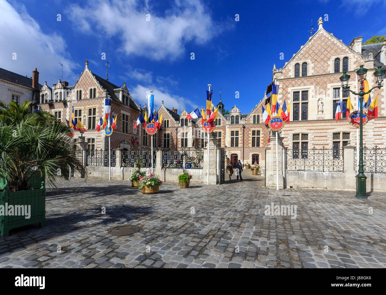 France, Loiret, Orleans, Groslot Hotel and Étape square - Stock Image