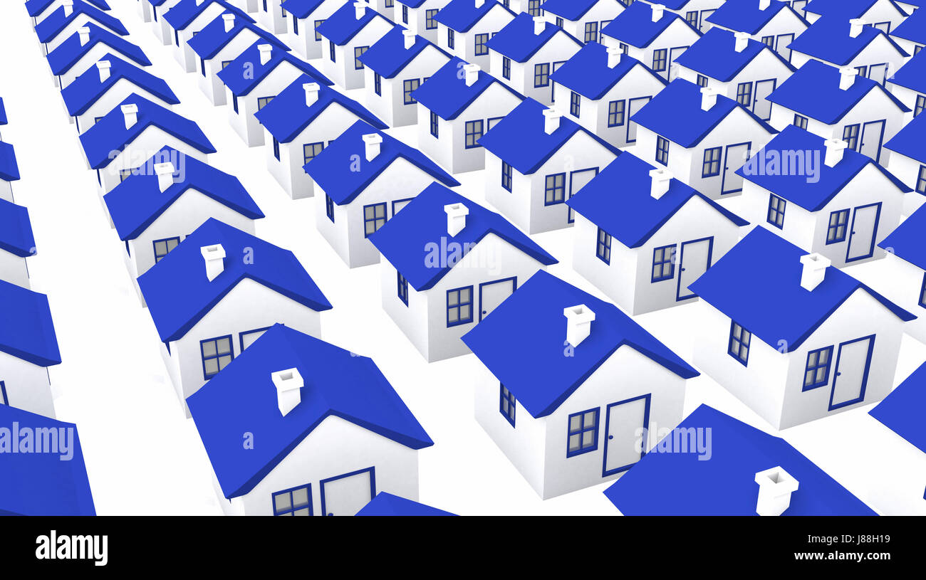 houses in mass production - blue white - Stock Image