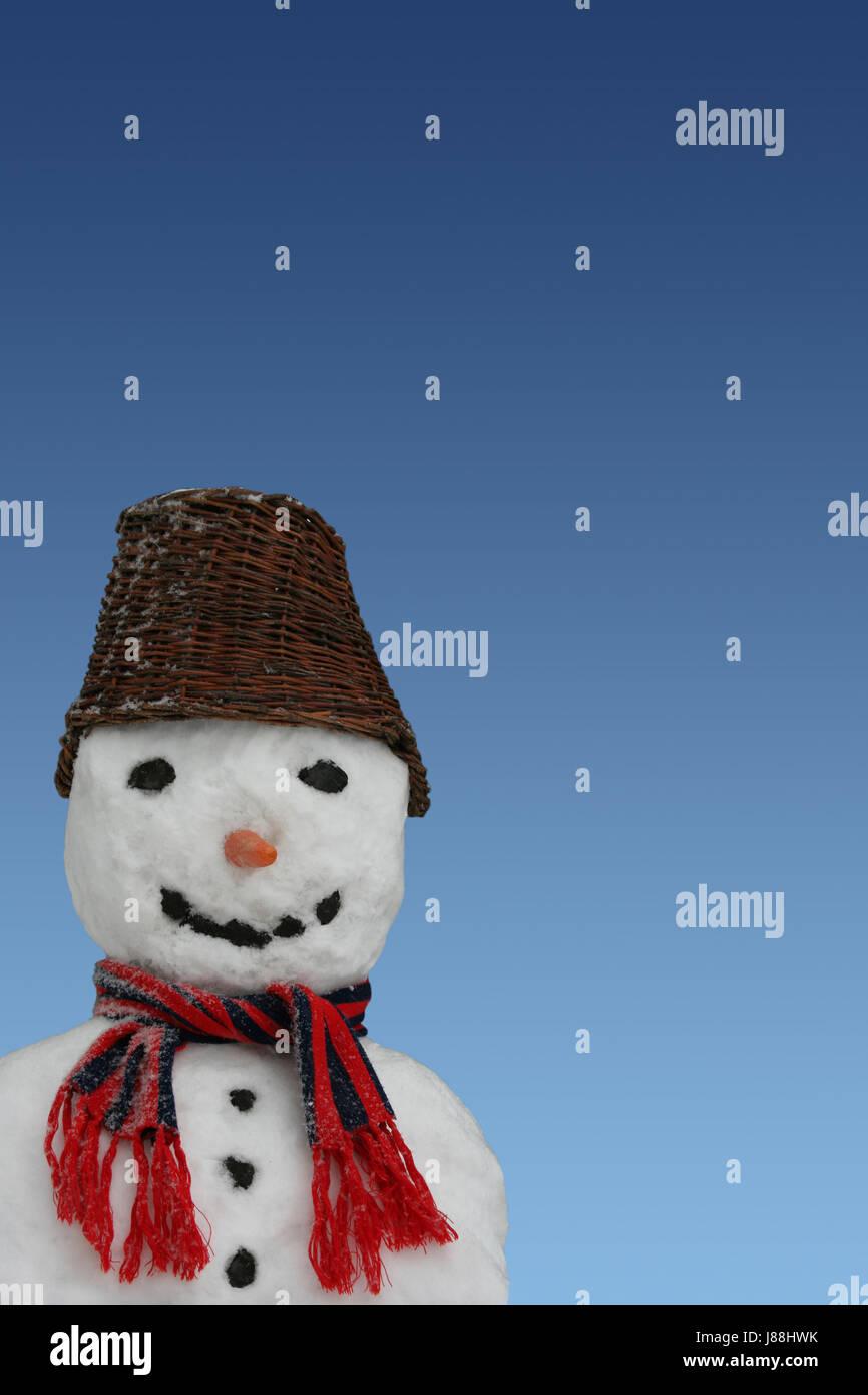 winter, location shot, deco, still life, snowman, firmament, sky, enthusiasm, Stock Photo