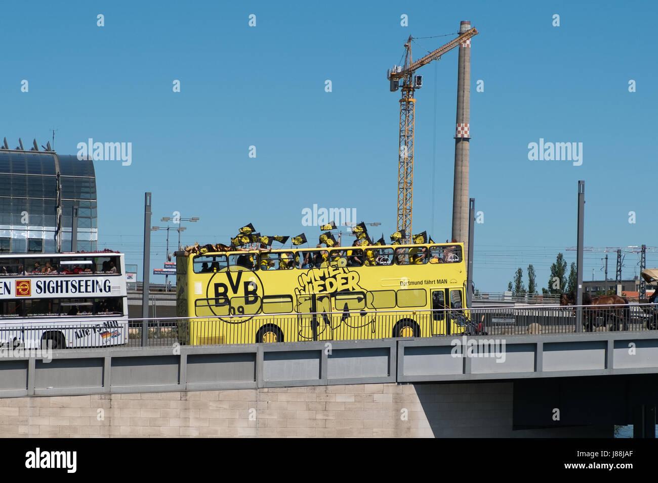Berlin, Germany - may 27, 2017: BVB Fans / Borussia Dortmund Fan Bus in Berlin on the day of the DFB-Pokal final. - Stock Image