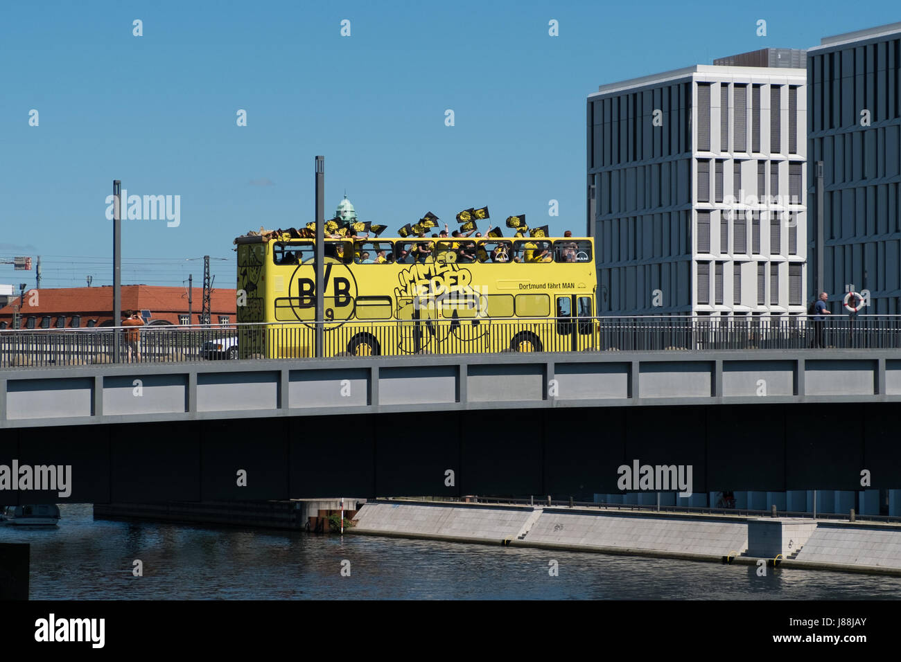 Berlin, Germany - may 27, 2017: BVB Fans / Borussia Dortmund Fan Bus in Berlin on the day of the DFB-Pokal final. Stock Photo