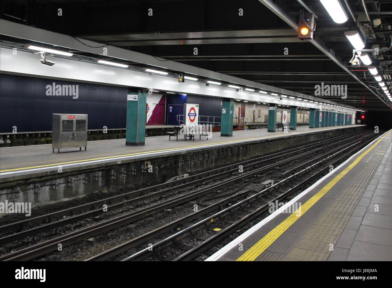 Moorgate underground station with tube signs visible, East London - Stock Image