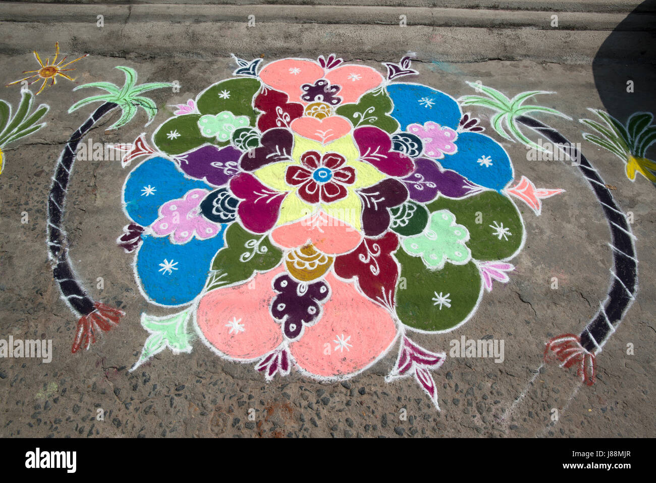 A coloured chalk drawing celebrating the Hindu festival of