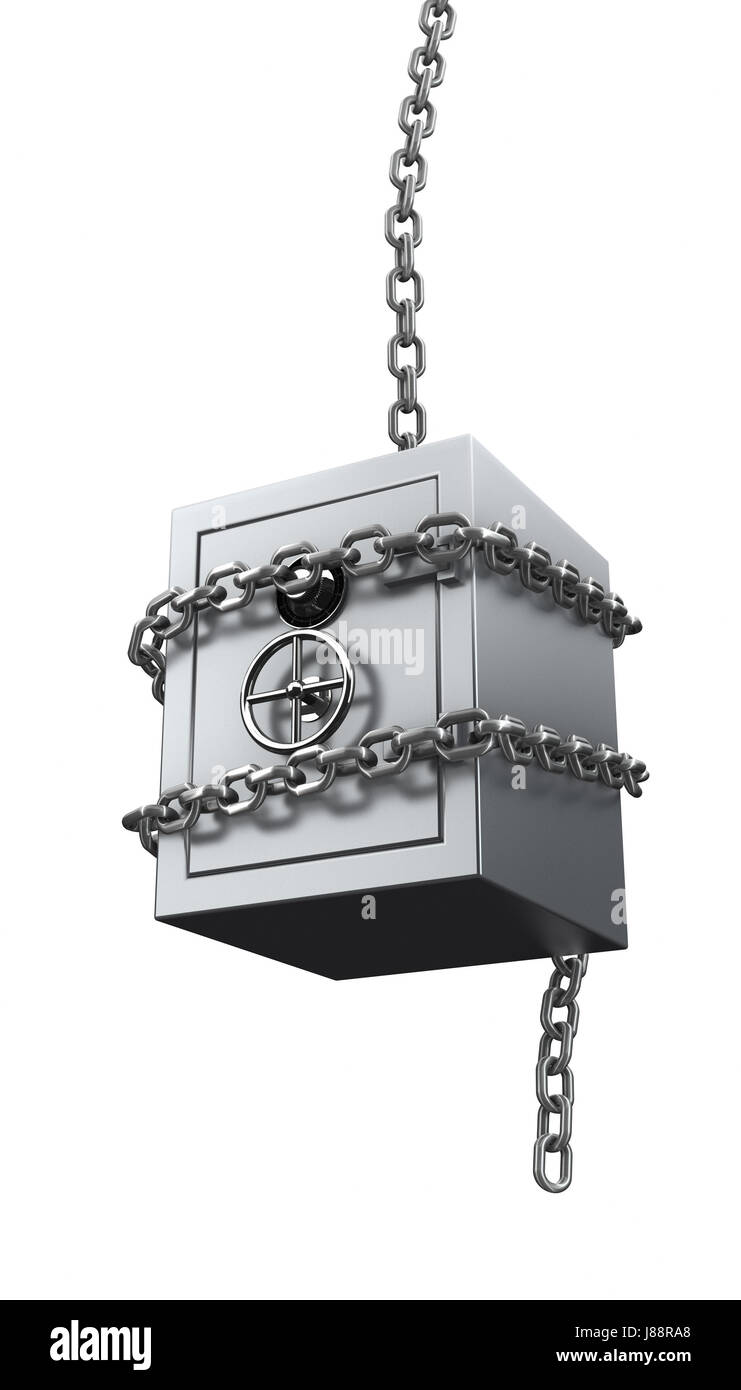 chain, greed, safe, guaranty, pledge, bail, security, money, isolated, model, - Stock Image