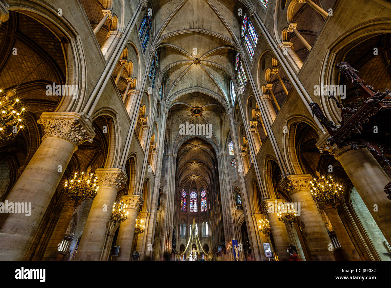 PARIS - JULY 1: Notre Dame de Paris Cathedral Interior on July 1, 2013. Notre Dame construction began in the year Stock Photo