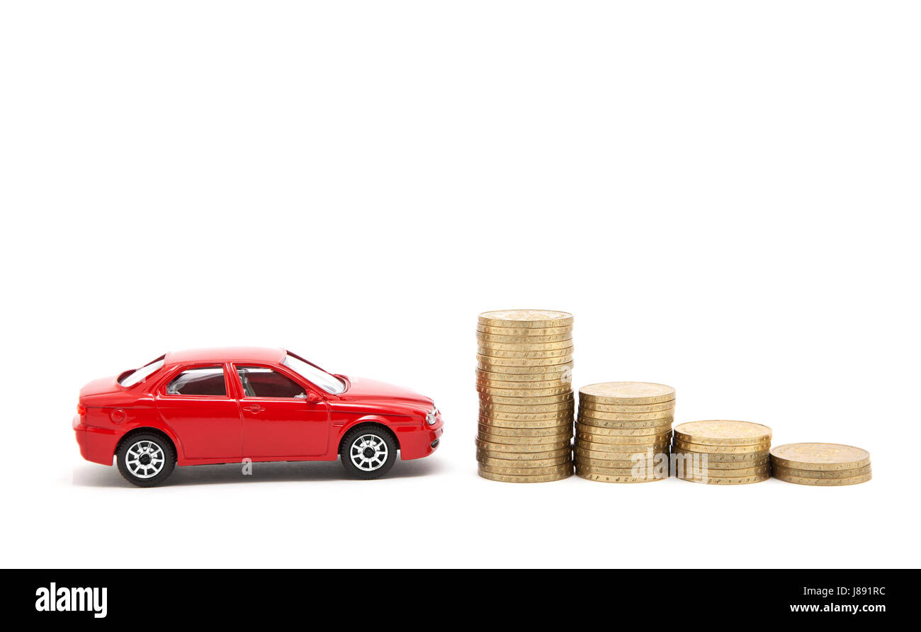 pay, isolated, currency, car, automobile, vehicle, means of travel, motor - Stock Image