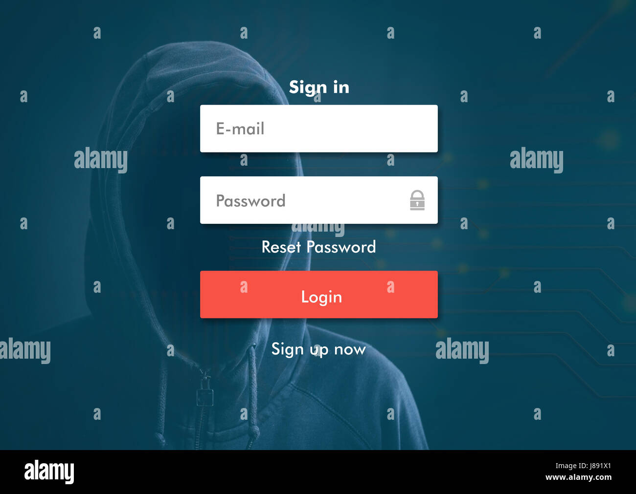 Internet security concept- hacker on background, login screen - Stock Image