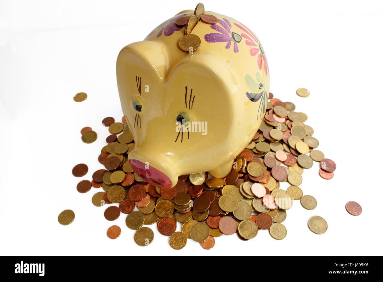 piggy bank on euro coins Stock Photo
