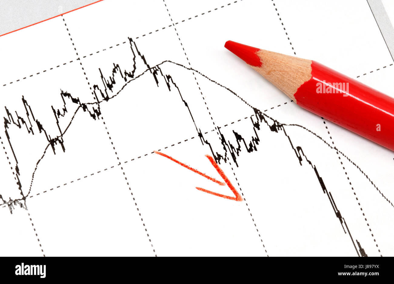 exchange rates in graphical display with colored pencil - Stock Image