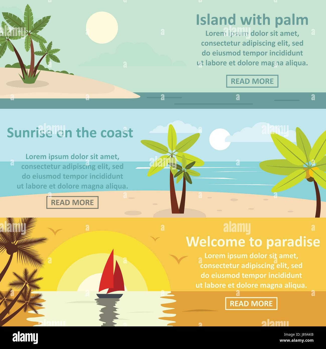 Palm coast rest banner horizontal set, flat style - Stock Vector