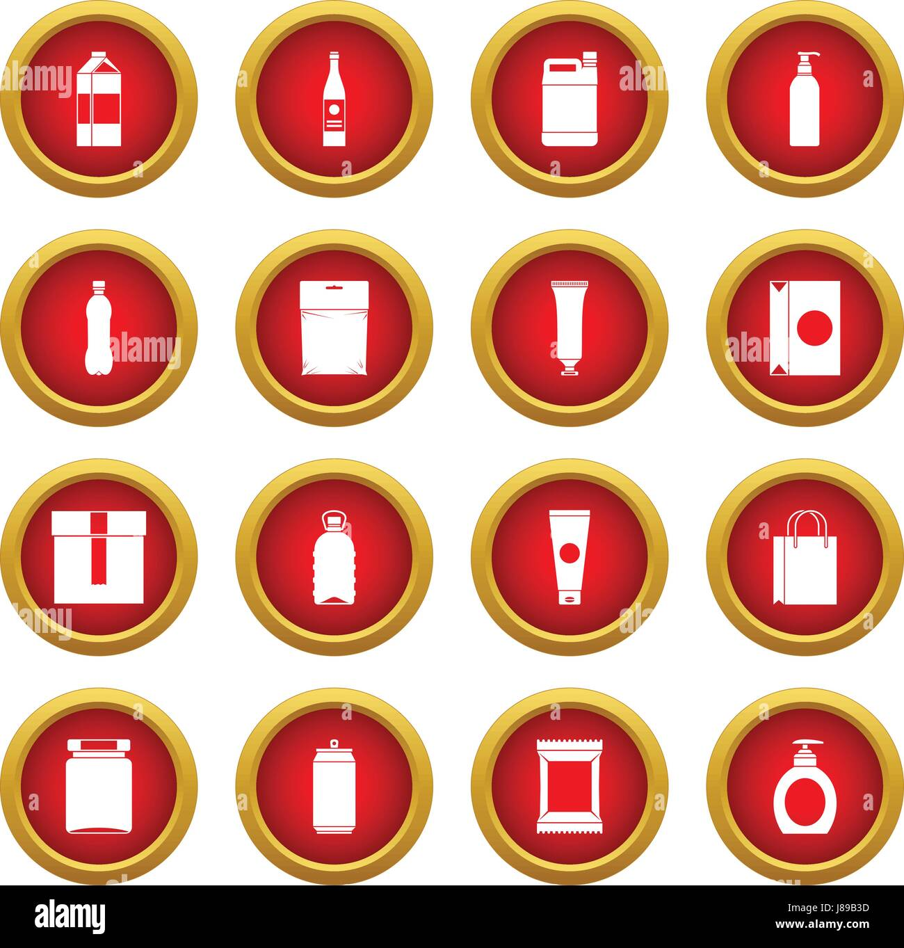 Packaging items icon red circle set - Stock Image