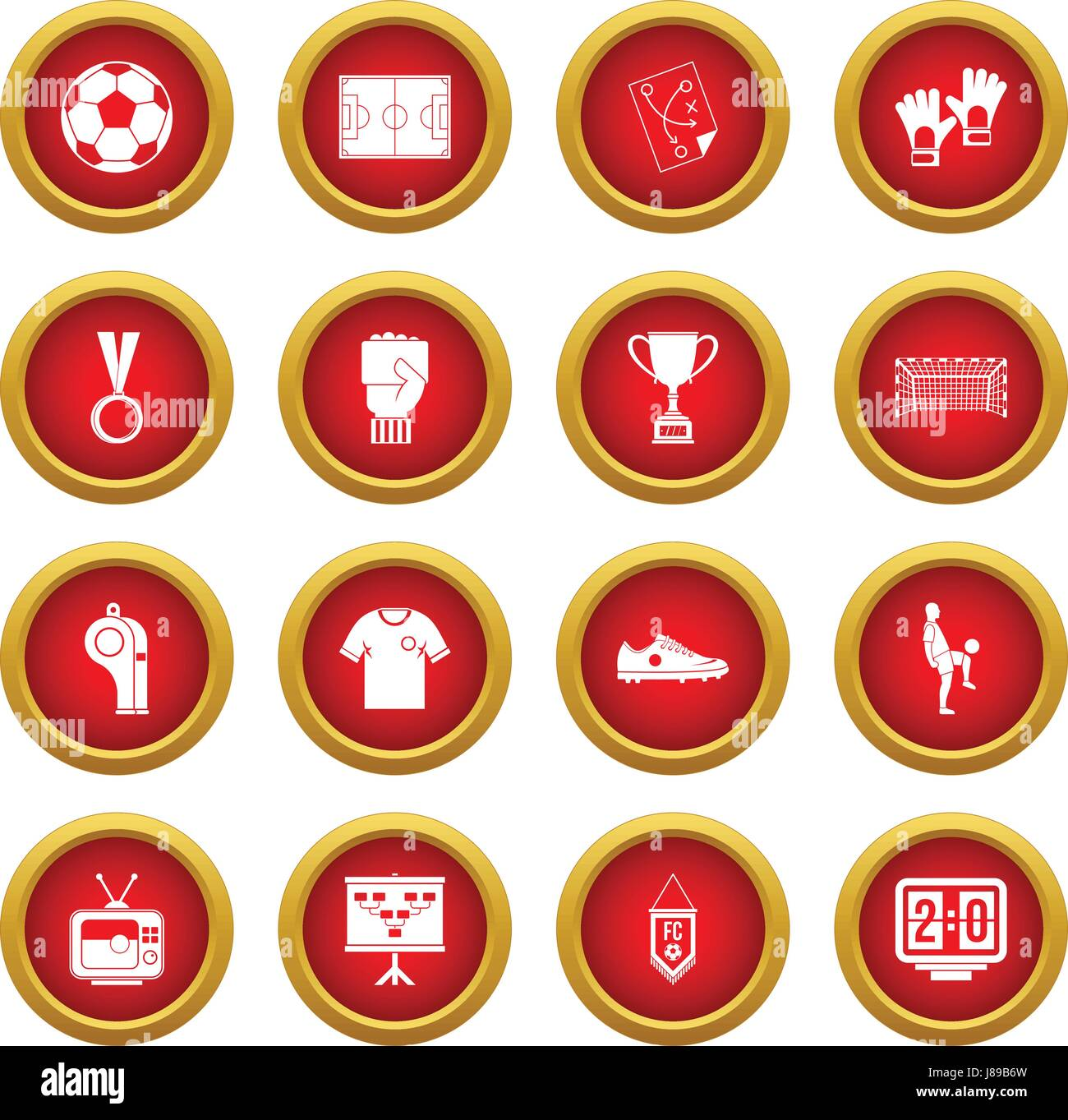 Soccer football icon red circle set - Stock Image