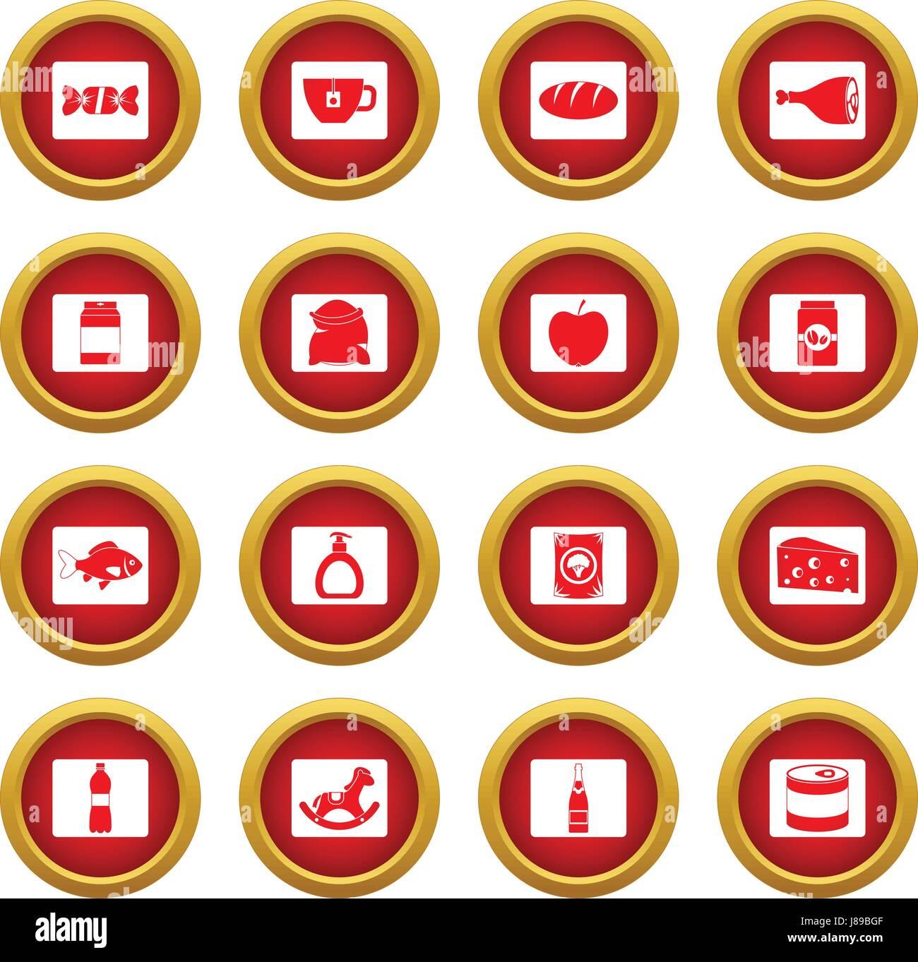 Shop navigation foods icon red circle set - Stock Image