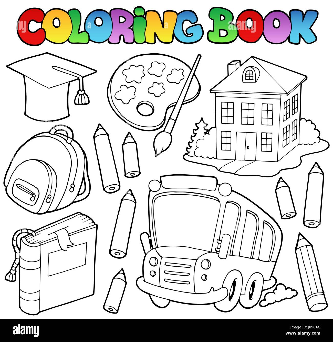 Education Colour Paint Painted Colouring Book School Stock Photo Alamy