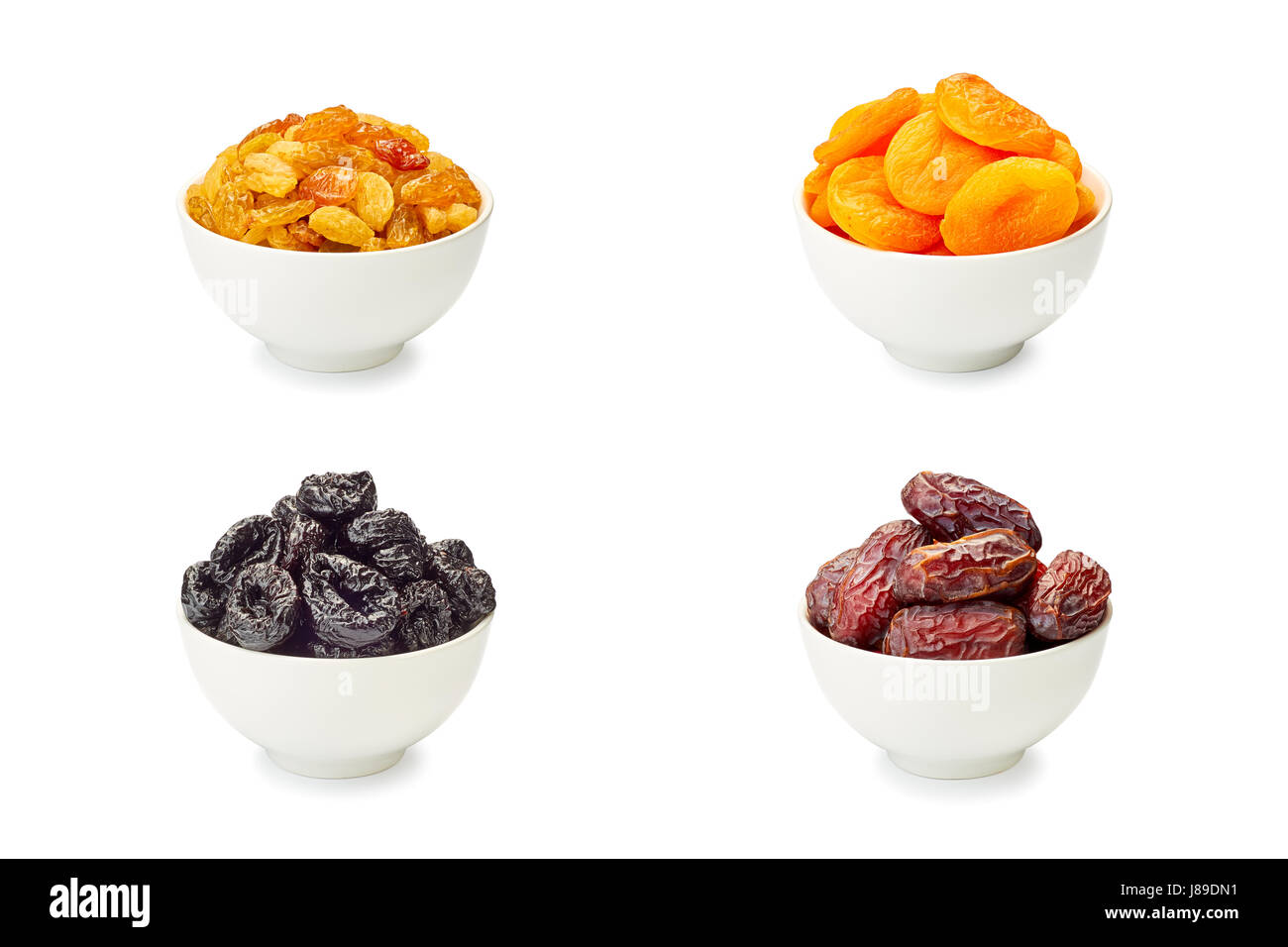 Set Different Dried Fruits Stock Photos & Set Different