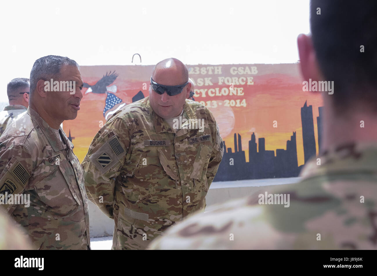 The Commanding General of U.S. Army Central Lt. Gen. Michael X. Garrett, discusses the achievements and capabilities - Stock Image