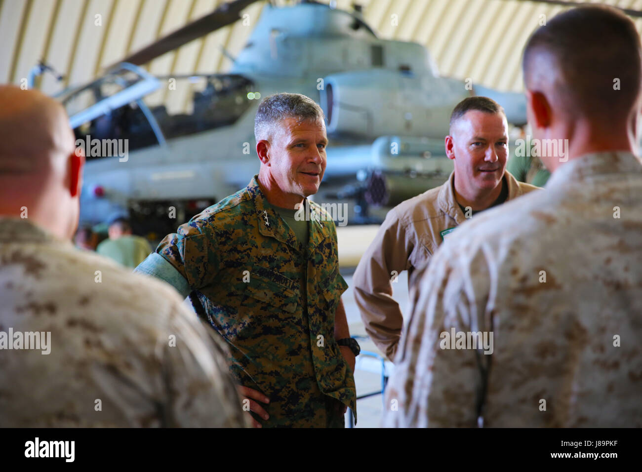Lt. Gen.  Lewis A. Craparotta, I Marine Expeditionary Force commanding general, visits with Marines from Marine Stock Photo