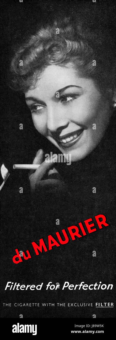1950 British advertisement for du Maurier cigarettes. - Stock Image