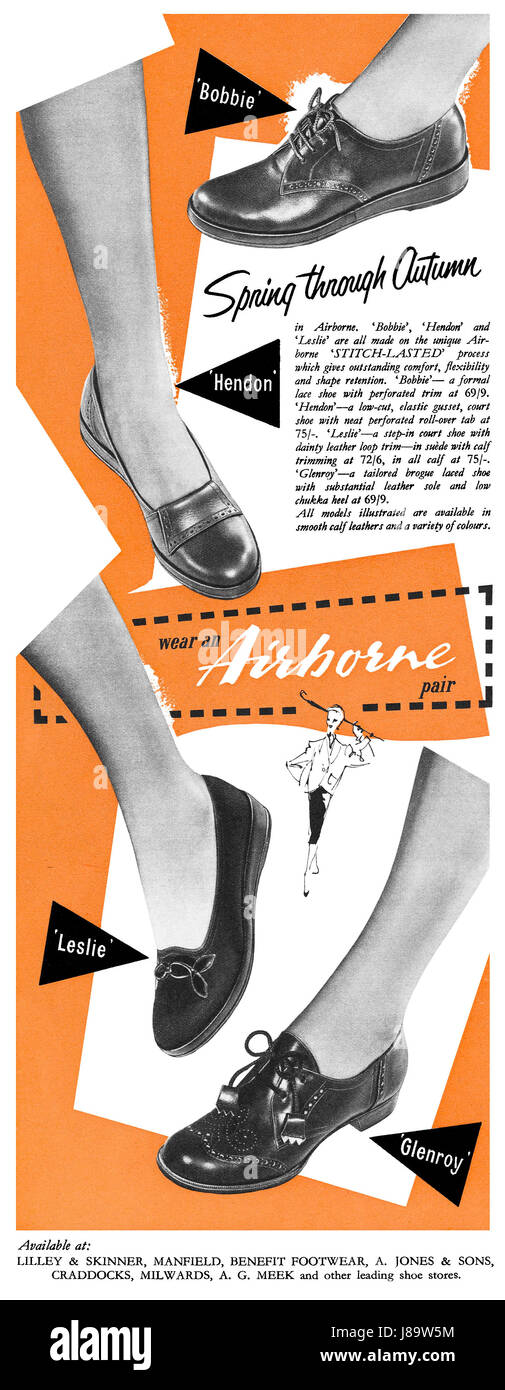 1951 British advertisement for Airborne Shoes. - Stock Image