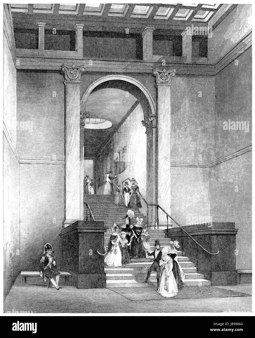 Victorian engraving of the entrance to the National Gallery, London. From the book London Interiors, published by - Stock Image