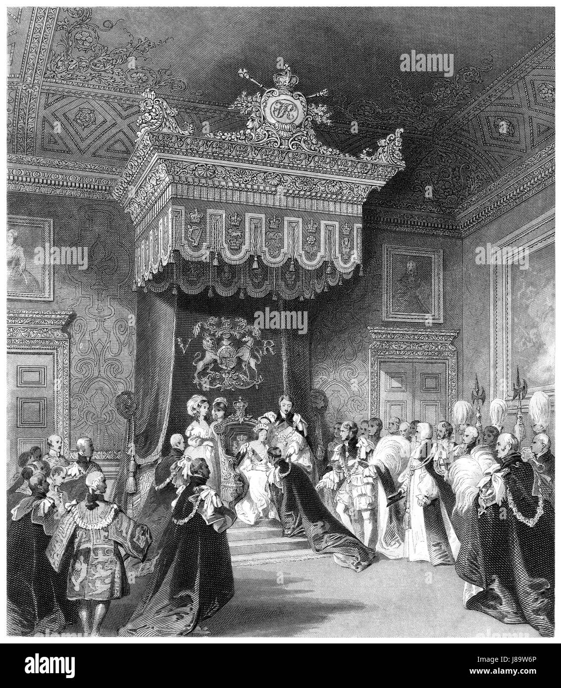 Victorian engraving of the investiture by Queen Victoria of a Knight of the Garter in the Throne Room at St. James's - Stock Image