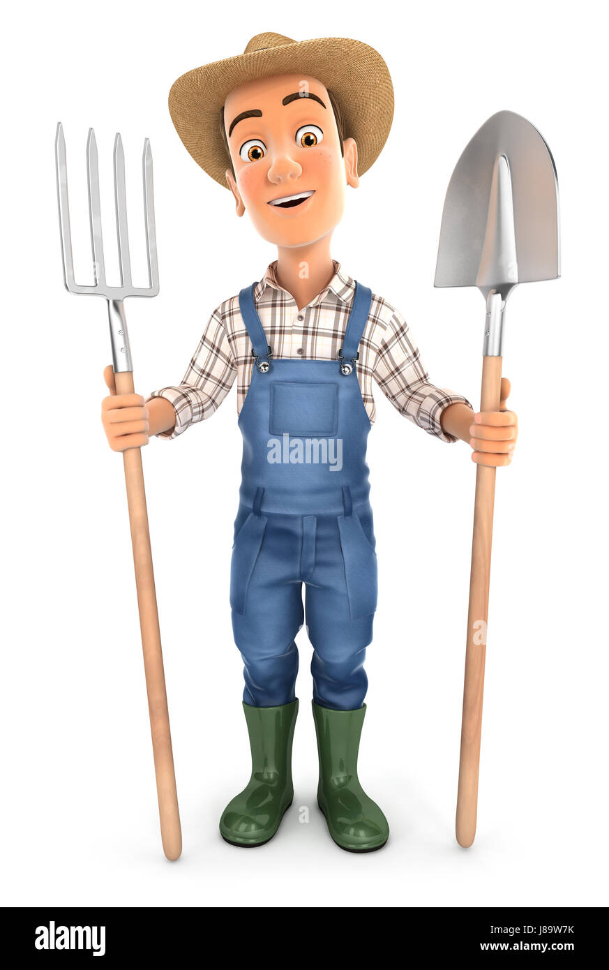 3d farmer with shovel and fork, illustration with isolated white background Stock Photo