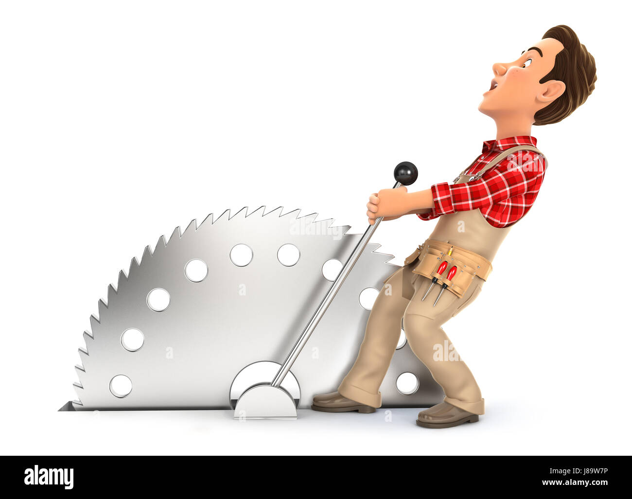3d handyman activating circular saw, illustration with isolated white background Stock Photo