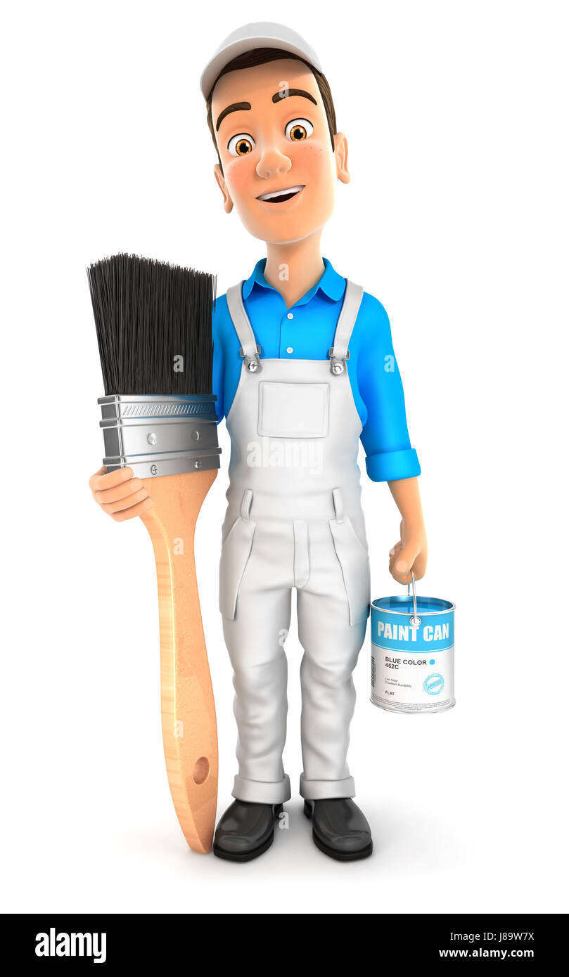 3d painter standing next to big paint brush, illustration with isolated white background Stock Photo