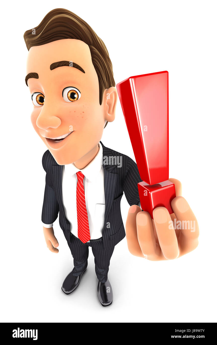 3d businessman holding exclamation mark, illustration with isolated white background Stock Photo