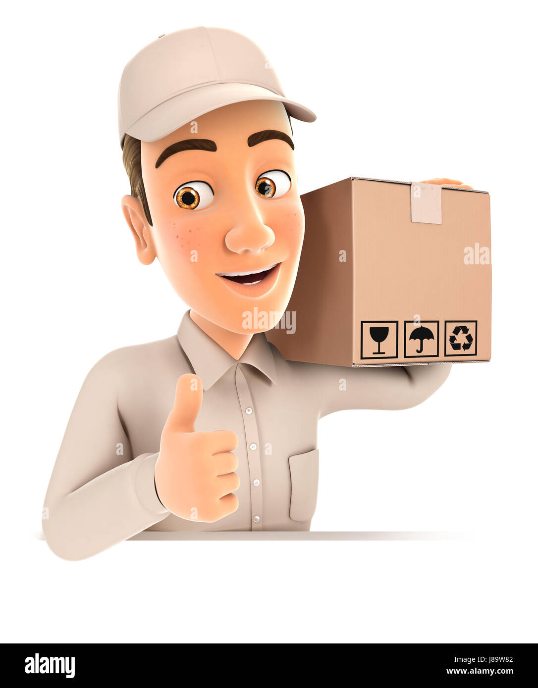 3d delivery man carrying package with thumb up, illustration with isolated white background Stock Photo