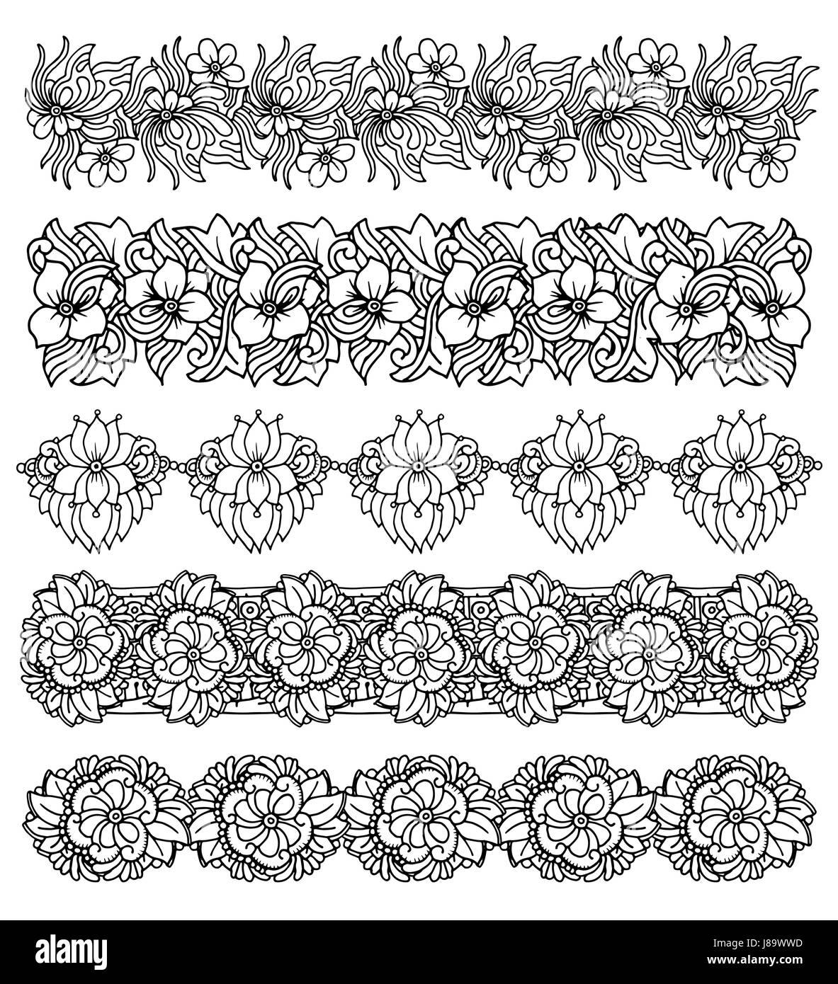 Brush border set with flower design - Stock Vector