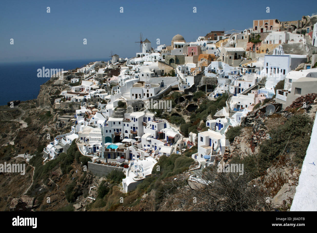 house, building, greece, water, mediterranean, salt water, sea, ocean, vulcan, - Stock Image