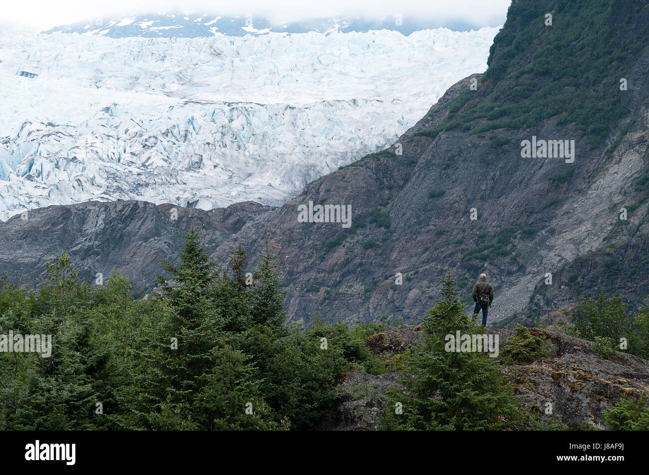 Mendenhall Glacier near Juneau Alaska - Stock Image