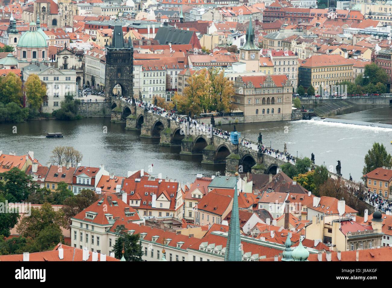 bridge, prague, republic, medieval, scene, location, site
