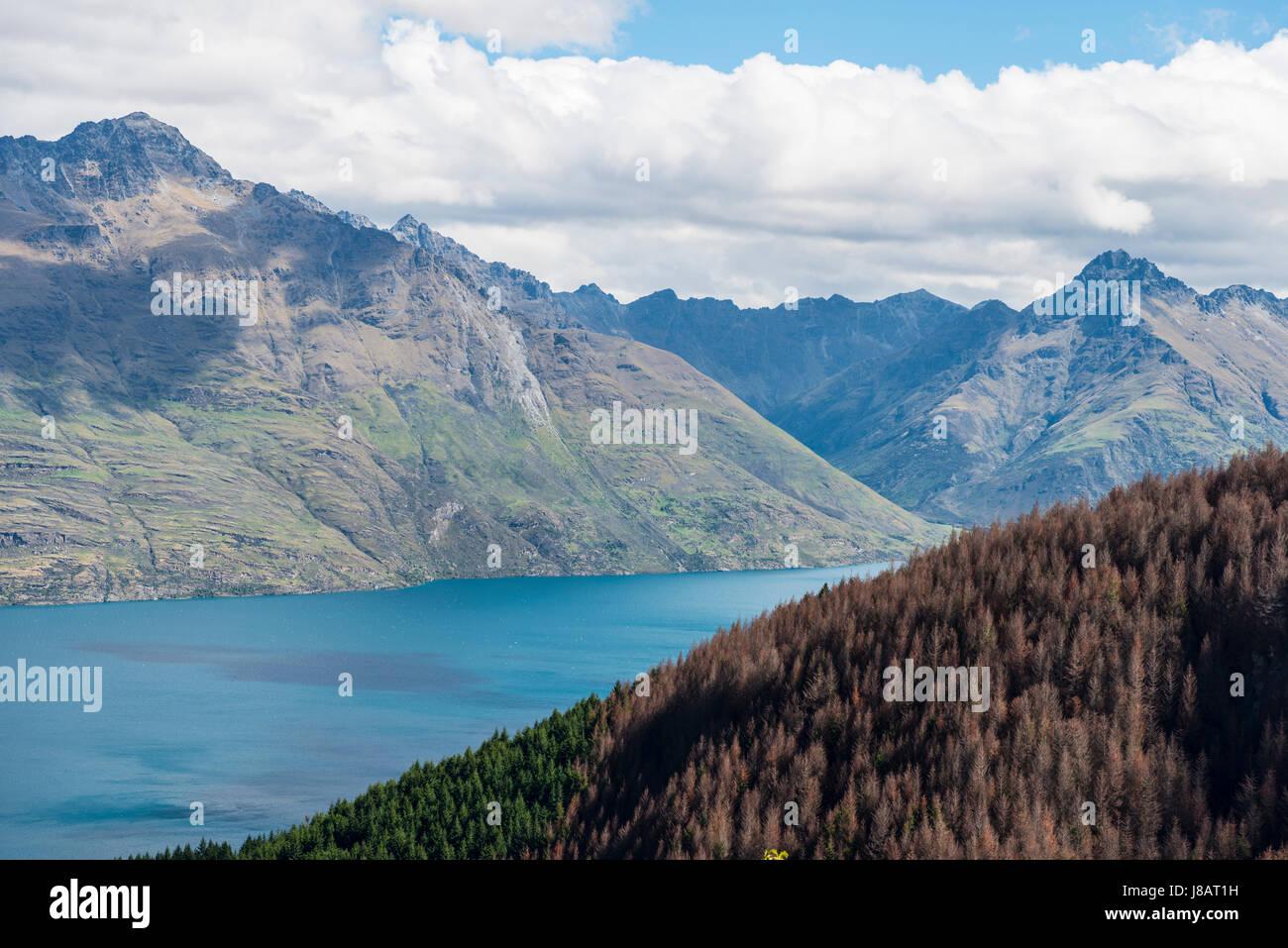 View of Lake Wakatipu, Ben Lomond, Otago, South Island, New Zealand Stock Photo