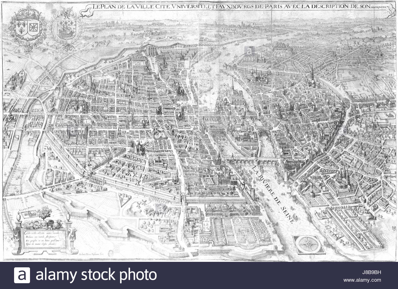 Paris Map Black And White.Old Paris Map Black And White Stock Photos Images Alamy