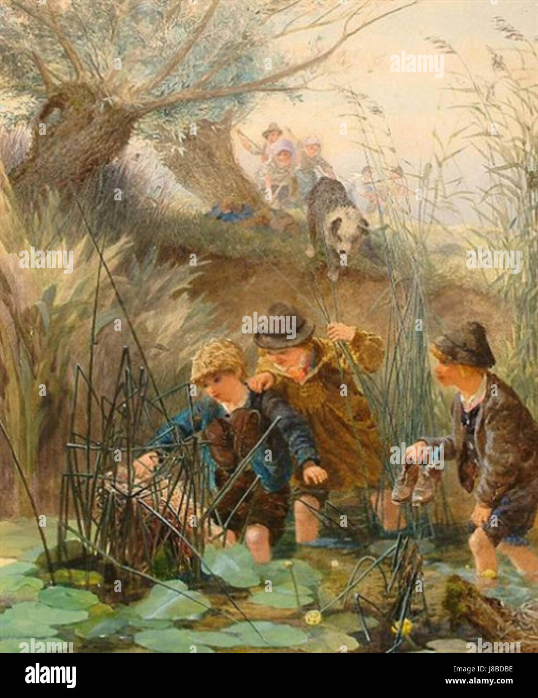 Mischievous Friends by Alfred Downing Fripp - Stock Image