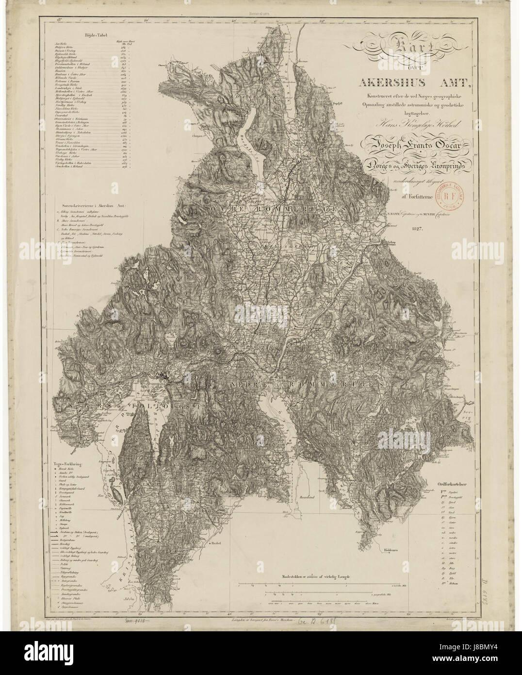 Kart Over Akershus Amt 1875 Stock Photo 142858104 Alamy