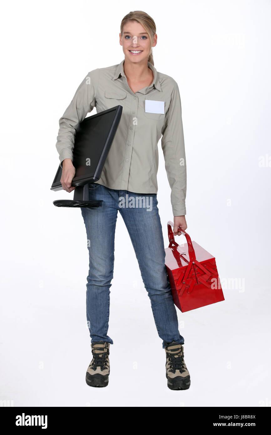 Home Appliances Broken Stock Photos Short Circuit Woman Tool Blonde Screen Hold Shirt Card