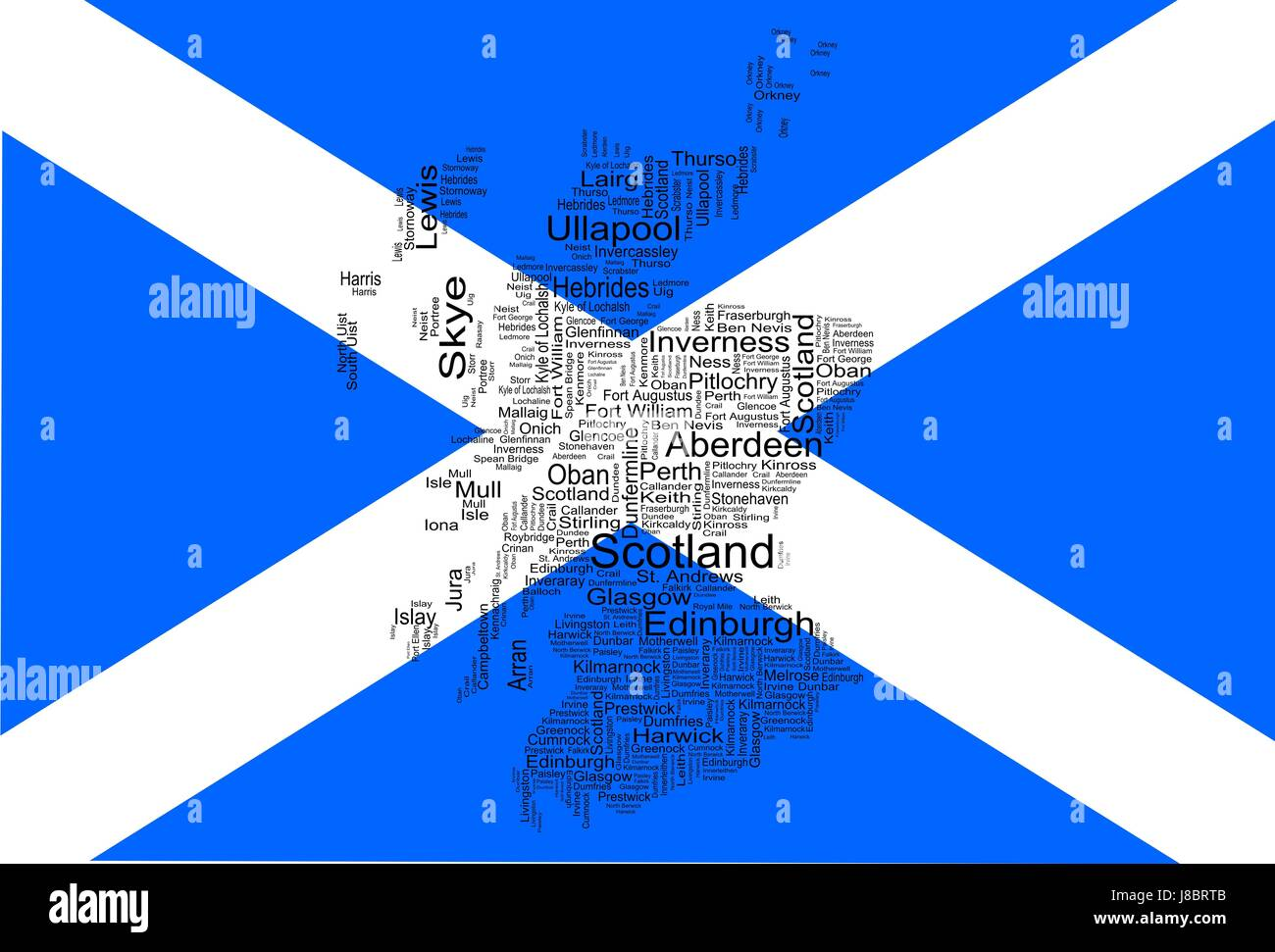 scotland flag with map Stock Photo