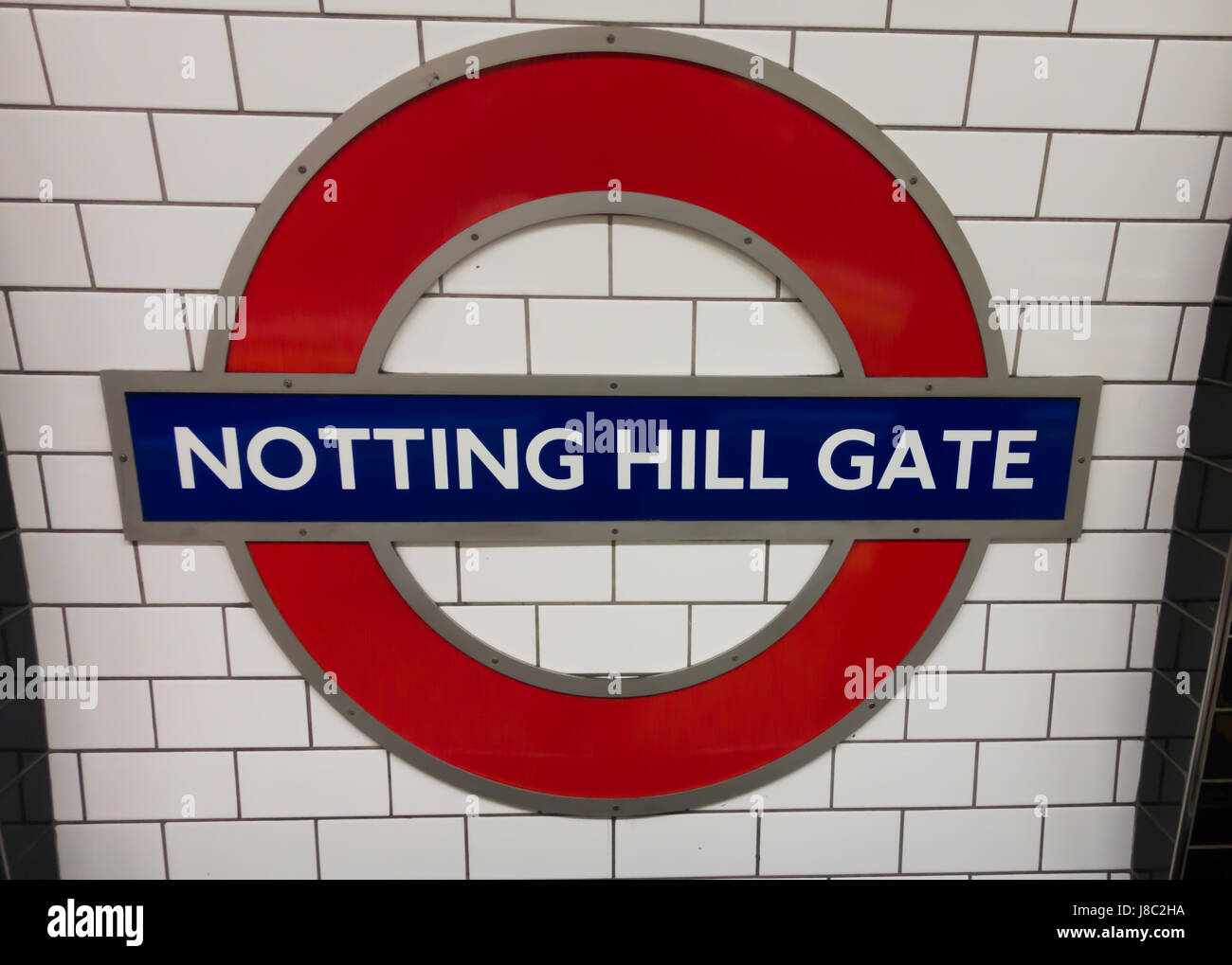 Close up view of Notting hill Gate logo - Stock Image