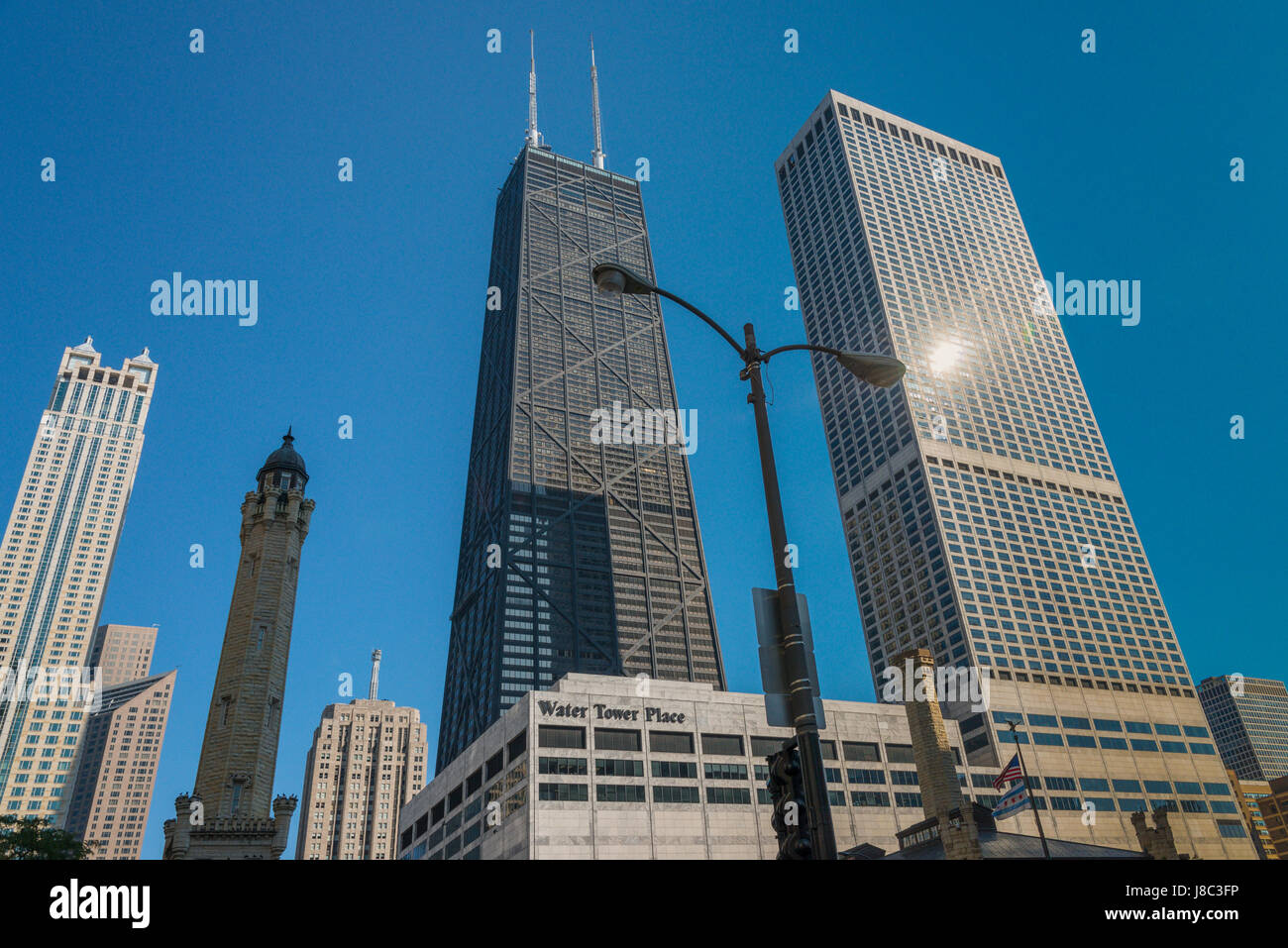 Skyscrapers and Street views around Michigan Avenue Chicago USA - Stock Image