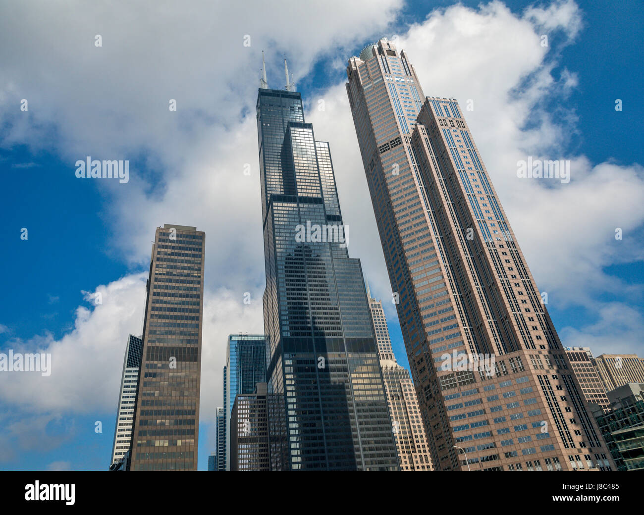 Skyscrapers around Chicago River USA - Stock Image